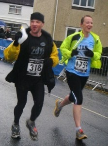 Jan and friend Neil crossing the line!