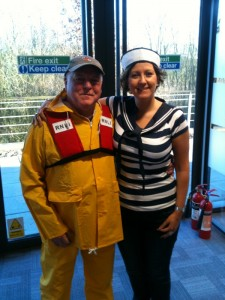 John and Louise from the fleet insurance team - all dressed up for sea!