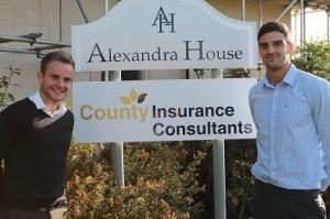 Jonny Kettle (Left) and Mat Bailey (Right) outside County Insurance (insureFLEET) Head Office in Crewe