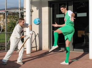 Jonny and Mat get some practice in outside work at County Insurance's Head Office in Crewe